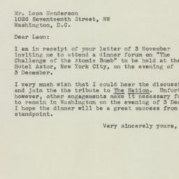 Letter : 1945 November 6