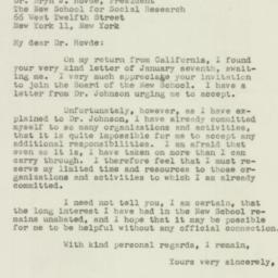 Telegram : 1947 January 18