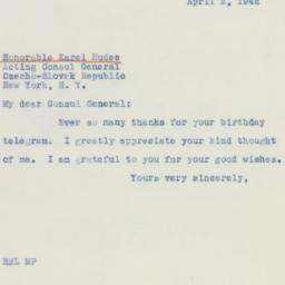 Telegram : 1942 April 2