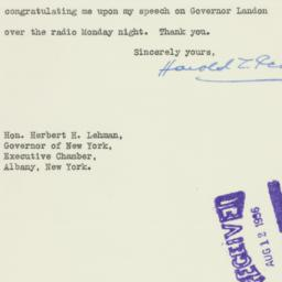 Letter : 1936 August 8