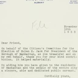 Letter : 1953 November 12