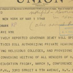Telegram : 1948 March 1