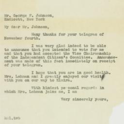 Letter : 1938 November 6