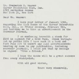 Letter : 1962 January 19