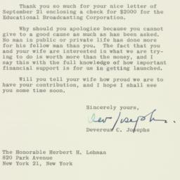 Letter: 1962 September 27