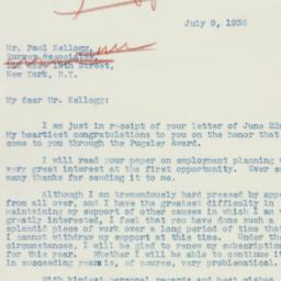 Letter : 1936 July 9