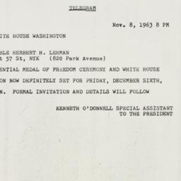 Invitation : 1963 November 8