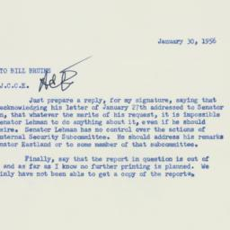 Memorandum: 1956 January 30