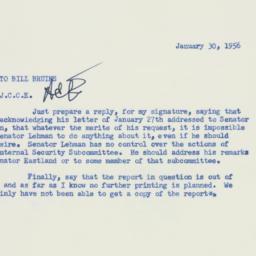 Memorandum : 1956 January 30