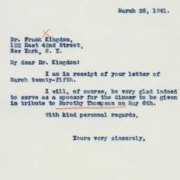 Letter : 1941 March 26