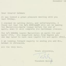 Letter : 1958 November 12