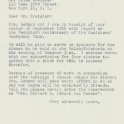 Letter : 1952 September 22