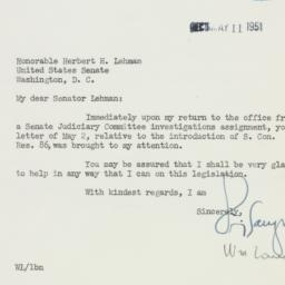 Letter : 1950 May 9