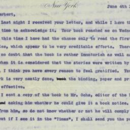 Letter : 1898 June 4