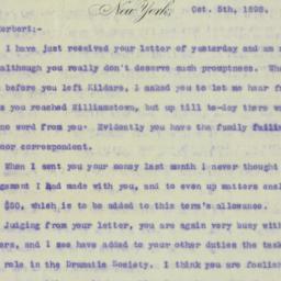 Letter : 1898 October 5