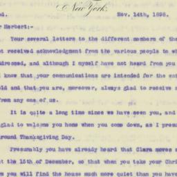 Letter : 1898 November 14
