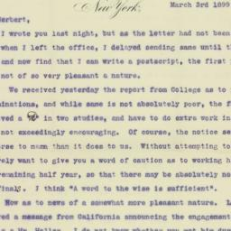 Letter : 1899 March 3