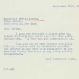 Letter: 1938 September 23