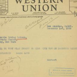 Letter: 1938 December 1