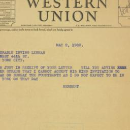 Letter: 1939 May 2