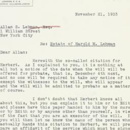 Letter : 1933 November 21