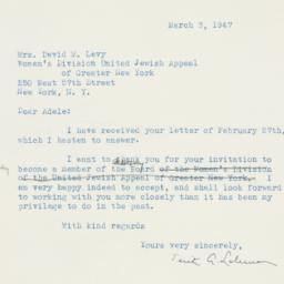Letter: 1947 March 3