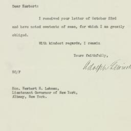 Letter: 1929 October 24