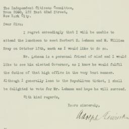 Letter : 1932 October 11