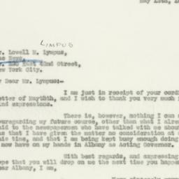 Letter : 1930 May 12
