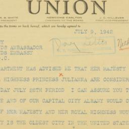 Telegram : 1942 July 9