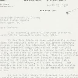 Letter : 1955 April 19
