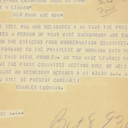 Telegram: 1947 September 26