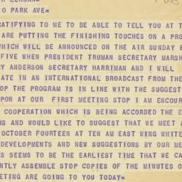 Telegram : 1947 October 4
