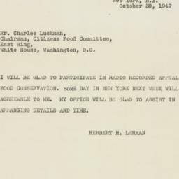 Telegram : 1947 October 30