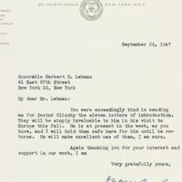 Letter : 1947 September 22