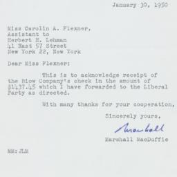 Letter: 1950 January 30
