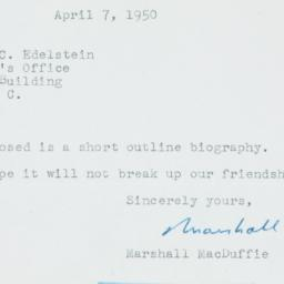Ephemera : 1950 April 7