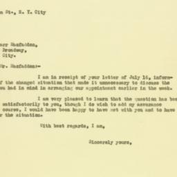 Letter : 1929 July 18