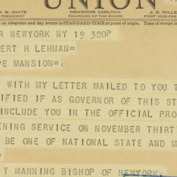 Telegram : 1941 November 19