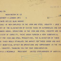 Telegram : 1954 March 23