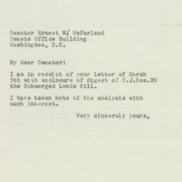 Letter : 1952 March 15