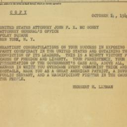 Telegram : 1949 October 14