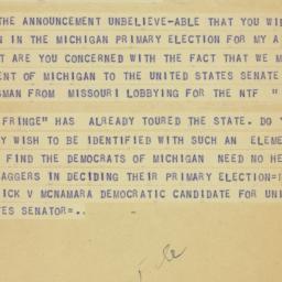 Telegram : 1954 July 6
