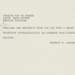 Telegram : 1960 November 9
