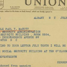 Telegram : 1942 July 15