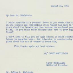 Letter : 1955 August 26
