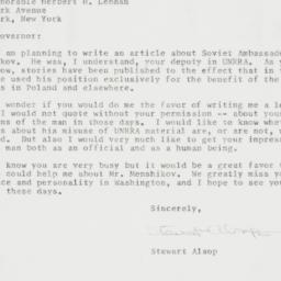 Letter : 1958 May 7