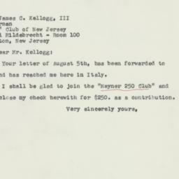 Letter : 1957 August 14