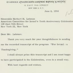 Letter : 1958 June 2