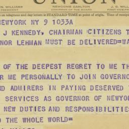Telegram : 1943 January 9